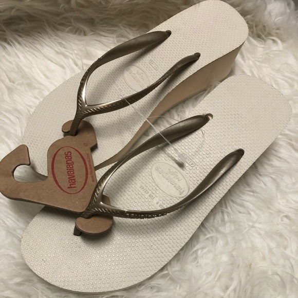 843d504b270 Havaianas High wedge flip flop sandals 41-42 beige. NWT